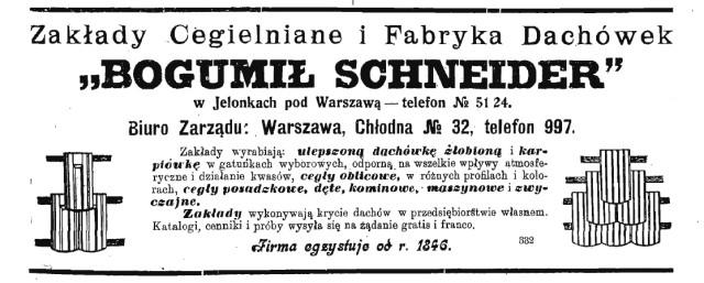 Zakłady Bogumiła Schneidra - reklama