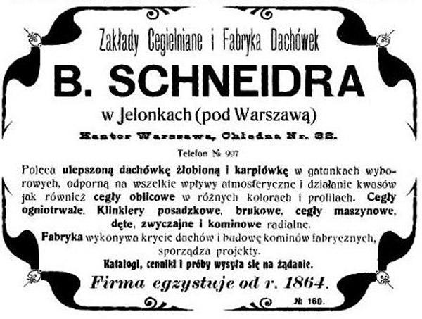 Reklama Cegielni Schneidra w Jelonkach pod Warszawą