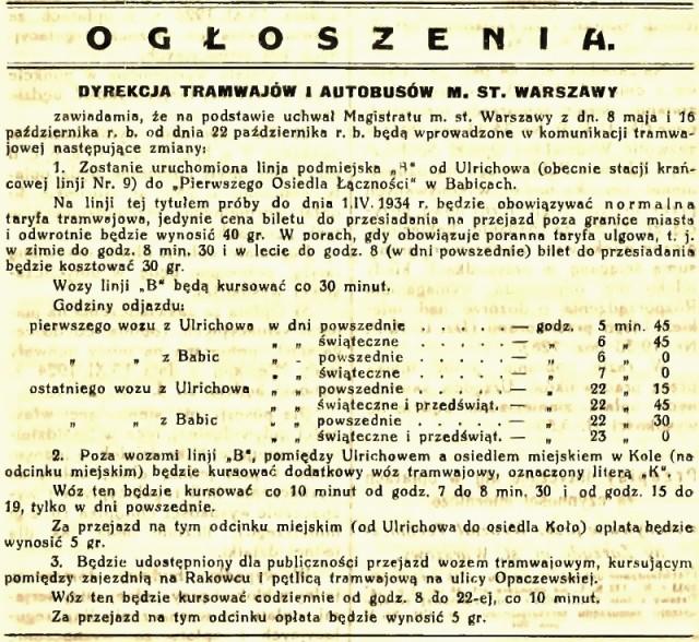 Ogłoszenie Tramwajów i Autobusów m. st. Warszawy