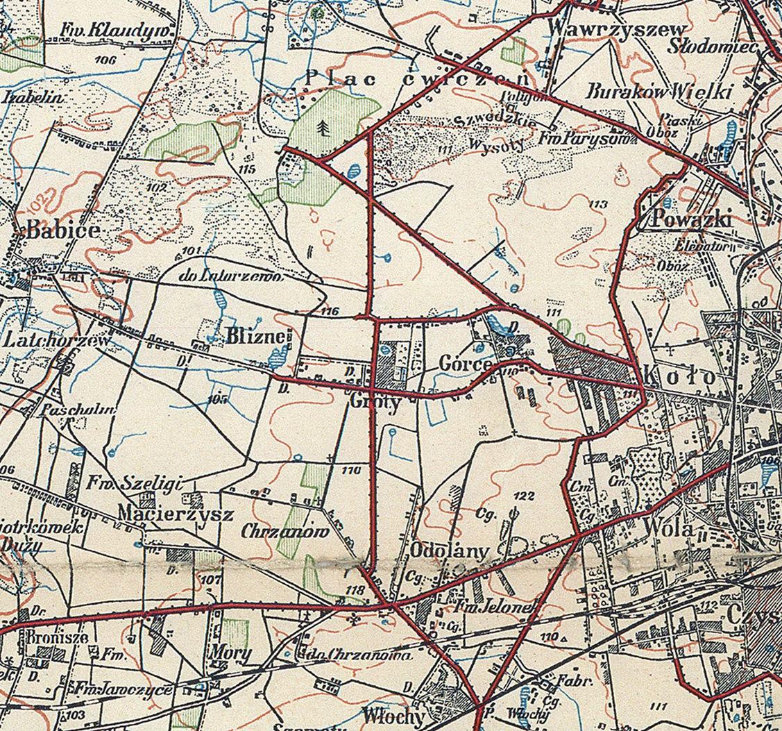 Mapa Topograficzna Okolic Warszawy Z 1924 R Fragment Cyfrowe