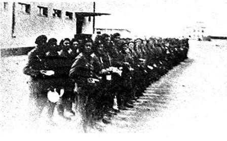 Zbiórka żołnierzy pierwszego Zmotoryzowanego Pułku Artylerii Przeciwlotniczej - lata międzywojenne