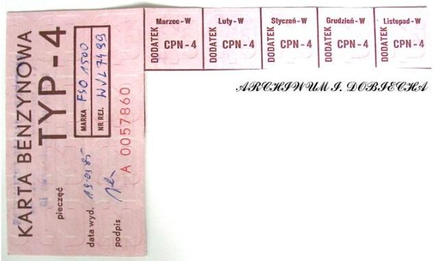 Kartka na benzynę - 1985 r.