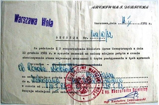 Zezwolenie na zmianę pobytu - stan wojenny