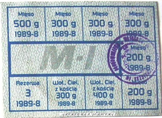 Kartki na mięso - 1989