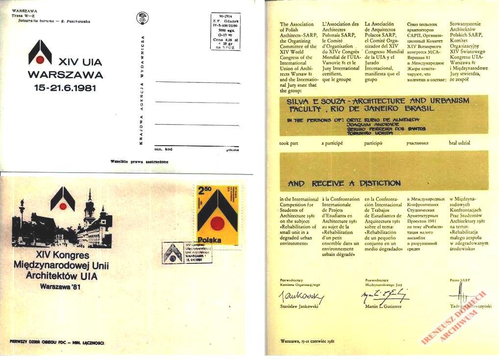 Dokumenty związane z XIV Kongresem Międzynarodowej Unii Architektów
