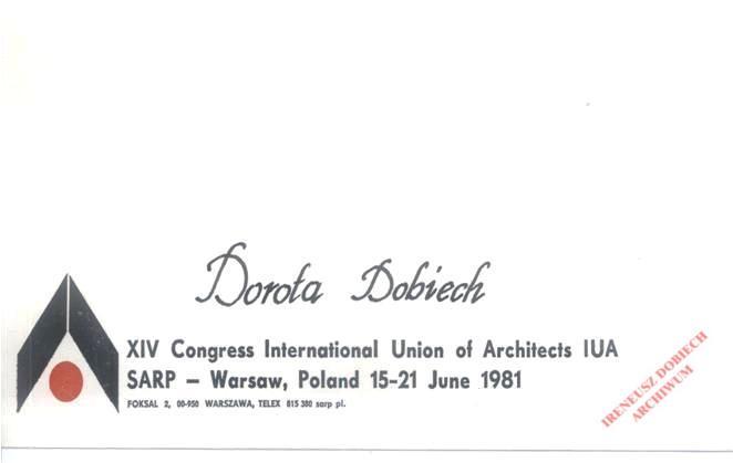 Wizytówka uczestniczki obsługi Kongresu UIA