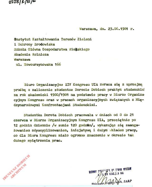 Pismo Biura Organizacyjnego XIV Kongresu UIA