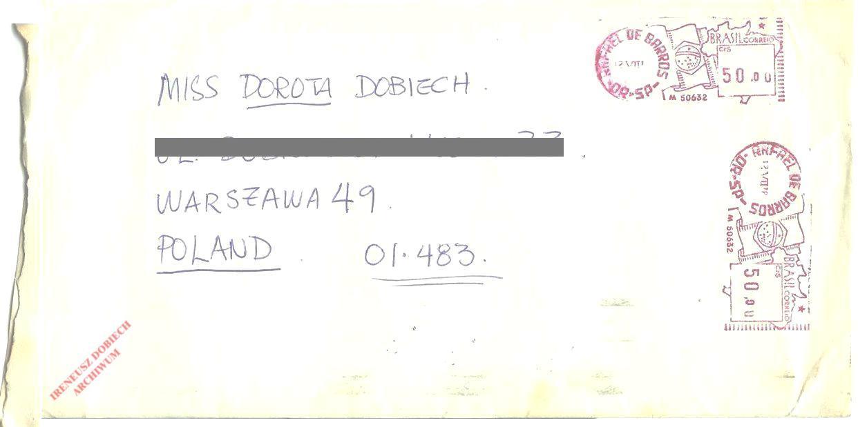 Koperta listu z Brazylii
