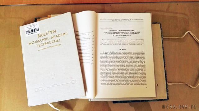 Artykuł naukowy gen. Sylwestra Kaliskiego w Biuletynie WAT z 1968 r.
