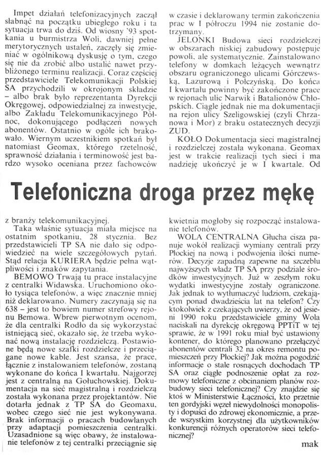 Kurier Wolski – Telefoniczna droga przez mękę